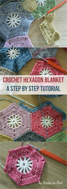 "Crochet Hexagon Baby Blanket Step By Step Photo Tutorial by ""Happy in Red"" #crochet #hexagon #crochetlove"