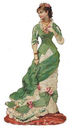 Victorian Die Cut Scrap Parisian Lady of Fashion ca. 1880s: