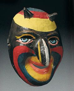 Dominican Devil mask Carnival, Dominican Republic 7 inches long, painted papier mache