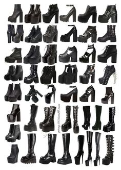 Female boots and gothic shoes reference images Female boots and gothic shoes reference images Egirl Fashion, Fashion Terms, Kpop Fashion Outfits, Gothic Fashion, Steampunk Fashion, Fashion Styles, Gothic Outfits, Edgy Outfits, Grunge Outfits