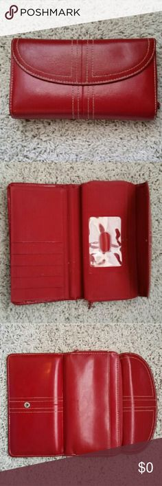 Buxton red leather wallet Buxton red leather trifold wallet, good condition. Buxton Bags Wallets