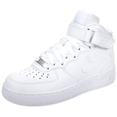 Nike Sportswear AIR FORCE 1 '07 MID Hightop trainers ($120) ❤ liked on Polyvore featuring shoes, sneakers, nike, white, high top sneakers, white high top sneakers, leather high tops, white leather sneakers and white shoes