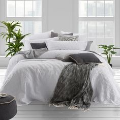 Washed Linen Light Grey Quilted Coverlet - pillowtalk.com.au