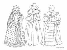 Vintage costumes to color -- Three Elizabethan Women
