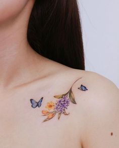 Butterfly Thigh Tattoo, Butterfly Tattoos Images, Butterfly With Flowers Tattoo, Butterfly Tattoo Designs, Delicate Tattoos For Women, Neck Tattoos Women, Hand Tattoos For Guys, Small Tattoos, Pretty Tattoos