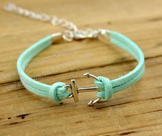 Mint green bracelet anchor bracelet mint bracelet by handworld, $1.59