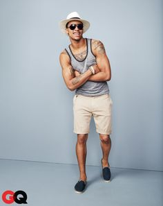 Tank top, $16.95 by Gap. Shorts, $49.90, and espadrilles, $39.90, by Zara. Hat, $16.99 by Target. Sunglasses, $18, by Claiborne at JCP. Bracelet, $6 by Urban Outfitters.