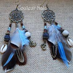 Boucles d'oreilles ethniques attrape rêves, plumes canard, faisan, perles roche volcanique, coquillage,om