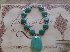 Green Turquoise Coin Beads Chain Wire Wrapped by Deanasprairiegems, $78.59