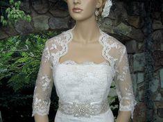 Ivory 3/4 sleeve wedding bridal bolero jacket by alexbridal, $79.99