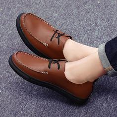 US $30 Genuine Leather Big Size Men Casual Shoes High Quality Comfortable Vintage Style Black Brown Plus Size 45 46 47 48