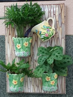 Mosaic Tea Cup Planter Mais