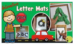 Road race alphabet tracing mats! Interactive practice with letter formation. Use with toy cars, play dough, dry erase markers, or with little fingers. Kids can interact with upper and lowercase letters in a hands-on way! Blog post with a lot of ideas!