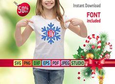 Christmas Monogram svg - Christmas clipart - snowflake T-Shirt svg and cricut cut files - snowflake monogram digital file - Vinyl Clipart by SuperDuperDIY on Etsy