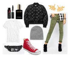 Olive green pants, white shirt, black jacket, grey beanie, red converse shoes, mascara, black bracelet, gold earrings