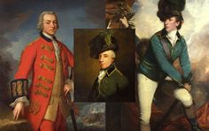 Paintings of Henry Clinton by Andrea Sold (The British Museum)i; Banastre Tarleton by Joshua Reynolds (The National Gallery); and George Hanger (inset) by Thomas Beach (Royal Collection Trust).