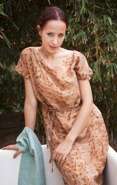 Byzantinium silk dress. Batik print on pure silk, beige color.