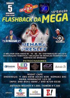 Balada com decoração temática, sorteio de brindes, show ao vivo do cover Uehara Presley e os DJs Massao e Tony Moa agitando a galera presente! Não perca!!!