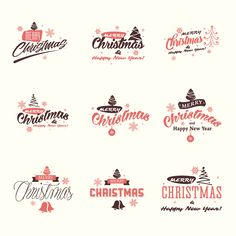 Merry Christmas and Happy New Year signs vector set  #tree, #greeting, #decoration, #ornament, #red, #new, #seasonal, #sign, #vector, #holiday, #symbol, #template,  #calligraphic, #xmas, #graphic, #christmas, #card, #handwriting, #illustration, #decorative, #retro, #collection, #design, #merry, #set, #vintage, #logo, #happy, #year, #ribbon