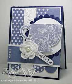 Tea Shoppe and Sweet Shop DSP - lovely combo Stampin Up tea cup card