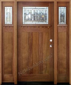 The sidelights open to make the doorway 1 foot wider. And the artglass obscures the view of people nosey outside. Exterior Doors ... & mission style entry door | Craftsman Style Exterior Doors (I like ...