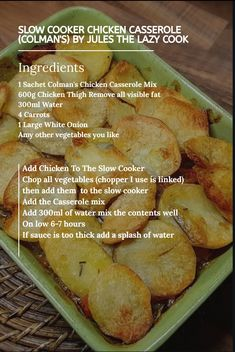 Slow Cooker Chicken Casserole (Colman's) – Jules The Lazy Cook Slow Cooker Recipes, Cooking Recipes, Healthy Recipes, Meat Recipes, Crockpot Recipes, Yummy Recipes, Healthy Food, Healthy Eating, Pork Goulash
