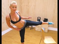 Zuzka - ZWOW (Need Chair for this Workout). Circuit Exercises: 5 (each leg) Burpee Step Up, 15 (each leg) Round Kick Back Lunge, 20 Inverted Leg Extension and 30 Tricep Dips w/ Leg Lift. Fitness Goals, Fitness Tips, Fitness Motivation, Health Fitness, Step Up, Pilates, Push Up, Body Rock Tv, Lunge
