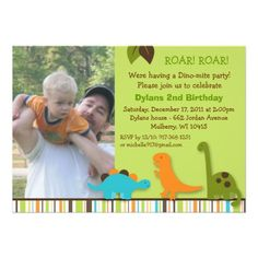 Lil Dino Dinosaur Boys Photo Birthday Invitations