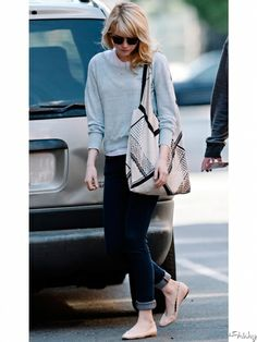 Emma Stone: sweater + top + rolled up jeans + flats : layering