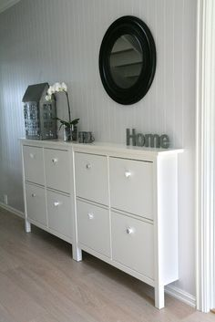 Awesome for a narrow entryway. I've been looking for something like this f… Ikea. Awesome for a narrow entryway. Narrow Entryway, Narrow Hallways, Ikea Entryway, Entryway Ideas, Hallway Ideas, Entrance Ideas, Ikea Hallway, Narrow Sideboard, Small Entrance