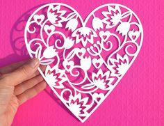 Free SVG paper cut heart file from www.Digitalgems.co.uk