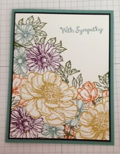 Bloom With Hope stamp set; colors are Lost Lagoon, Tangelo Twist, Blackberry Bliss, Hello Honey and Meadow Making Greeting Cards, Greeting Cards Handmade, Get Well Cards, Tampons, Sympathy Cards, Scrapbook Cards, Scrapbooking, Flower Cards, Cool Cards
