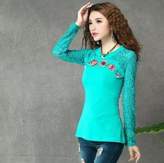 2016 Vintage Fall V Neck Long Sleeve Lace Shoulder Embroidery Flower Slim Large Size T Shirt Women Fashion New Spring TR030