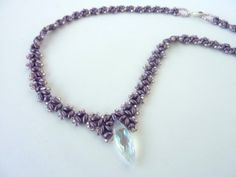 FREE beading pattern using twin beads, seed beads and crystal drop