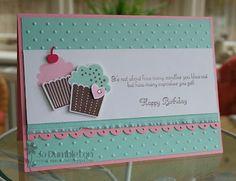 Create A Cupcake, Cupcake Builder & Dotted Scallop Ribbon border punches, Perfect Polka Dots EF, Ruffle Ribbon (colors: Pool Party, Melon Mambo & Chocolate Chip) Kids Birthday Cards, Handmade Birthday Cards, Birthday Images, Birthday Quotes, Cupcake Card, Karten Diy, Kids Cards, Creative Cards, Cute Cards