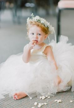 Young flower girl dress with baby's breath crown