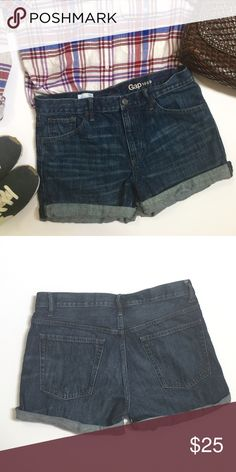 """Gap sexy boyfriend denim shorts 29 Gap sexy boyfriend denim shorts. Size 29"""". In good used condition. Measurements: waist 16"""", rise 10.5"""", length 4"""" rolled, 6"""" unrolled. Shorts have an intentional raw edge at the bottom. GAP Shorts Jean Shorts"""