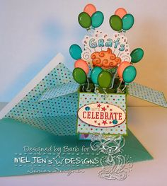 The Buzz: Blog Hop with MelJen's Designs and win digital stamps! Card in a box featuring, GRATS Cupcake, a digital stamp from #MelJen's Designs
