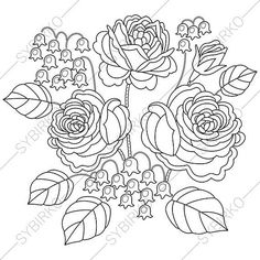 3 Coloring Pages. Roses and Bluebell Flowers. Zentangle Doodle