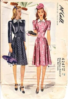 McCall 4247 Misses dress and bolero - 1940s black dot pink floral color illustration print ad sewing pattern