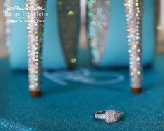 Photographer: Paige Hinrichs #wedding #weddngshoes #betsyjohnson #blueheels #ring #engagementring