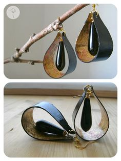 Sue - use leather instead of paper to do this style - paper earrings Paper Earrings, Paper Jewelry, Beaded Earrings, Diy Jewelry, Beaded Jewelry, Handmade Jewelry, Jewelry Making, Jewellery, Silver Jewelry