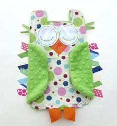 Preppy Polka Dots OWL Ribbon Tag Blankie Baby Gift Idea