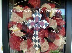 SALE Premium Maroon and Cream Fleur de Lis by lilmaddydesigns