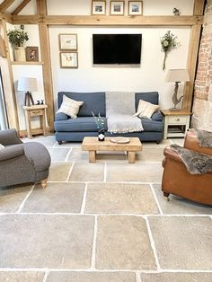 Old Stone Cottage Case Study - Hidcote Flagstones 02 Cottage Living Rooms, Cottage Interiors, Home And Living, Living Room Decor, Living Spaces, Cottage Renovation, House Renovations, Kitchen Renovations, House Remodeling