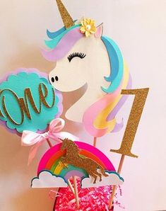 Having a Magical themed Birthday for your little one? This custom centerpiece is such a cute touch. Your Birthday girl and guests will absolutely love it!! Each SET includes 1 Centerpiece as pictured.Unicorn Sizes vary. Measuring from the top of the Horn to the bottom of the