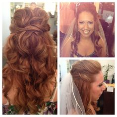Red headed bride half up half down hair