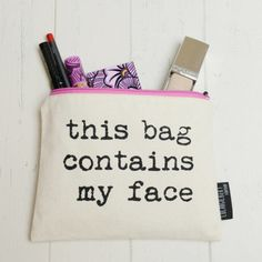 Our new range of make up bags by Lola & Gilbert are quirky and fun. Each has a slogan, screen printed here in the UK in London. We have lots of quotes and sayings, humorous, witty, and playful. A brilliant gift for a friend or daughter - make reference to a behaviour of theirs or a motto in a comical cheeky way.  'This Bag Contains My Face' is one of the most popular choices in our range.  Cream cotton, lined with black waterproof material with a pink zip.  Best Mummy Like Ever  Yummy Mummy…