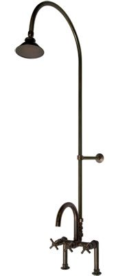Sebastian Deck Mount Exposed Pipe Shower U0026 Gooseneck Tub   Cross Handles. Outdoor  Shower FixturesOutdoor ...