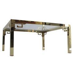 Mastercraft Polished Brass Coffee Table With Greek Key Design